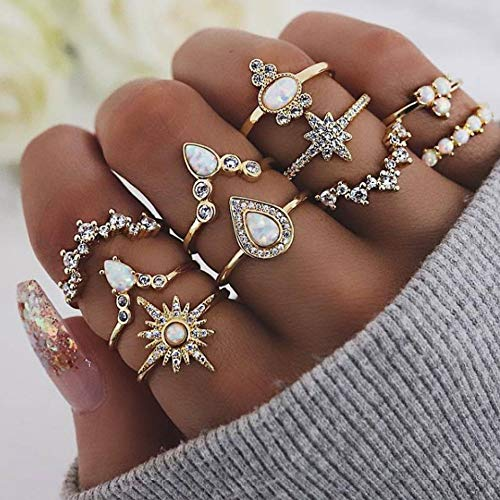 PROTUSTER Boho Opal Rhinestone Knuckle Rings Vintage Stackable Joint Midi Finger Rings Set Gold Crystal Sun Star Hand Accessories Jewelry for Women and Girls(Pack of 10) (Gold-E)