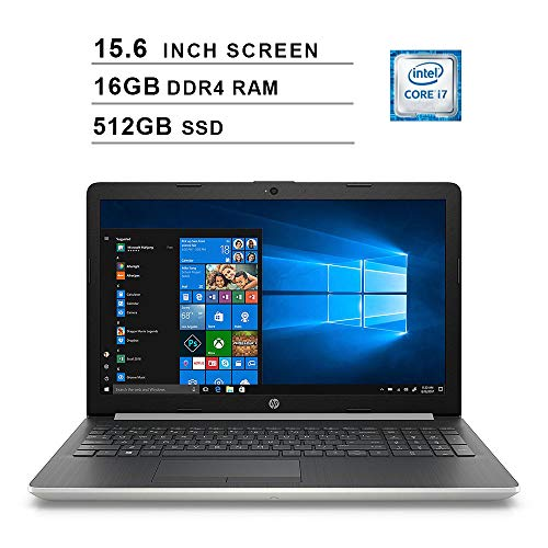 HP 2020 Newest 15.6 Inch HD Laptop (Intel Quad Core i7-8550U up to 4.0 GHz, 16GB RAM, 512GB SSD, Intel HD Graphics 620, WiFi, Bluetooth, DVD, HDMI, Windows 10 Home) (Silver)