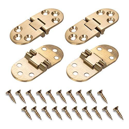 INCREWAY 4 Stück Klapp-Scharniere aus massivem Messing, runde Kante, Nähmaschinen-Scharniere für Klapptisch, Schrank, Tür, Möbel