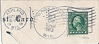 1913 Fancy Cancel Cut Post Card With 1912 US Postage Stamp 1 Cent Washington Green Scott #405