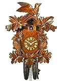 Orologio a cucù meccanico originale della Foresta Nera (con certificazione), con meccanismo a 8 giorni, decorato con 7 foglie e 3 uccellini