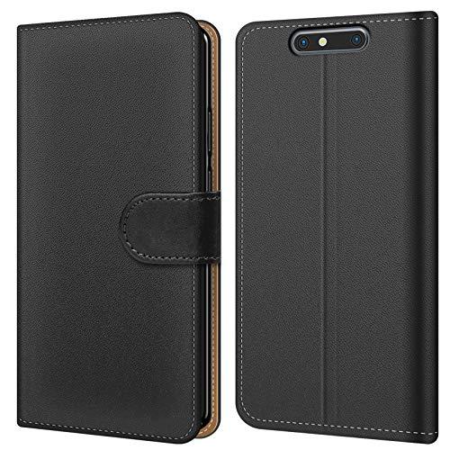 Conie BW50267 Basic Wallet Kompatibel mit ZTE Blade V8, Booklet PU Leder Hülle Tasche mit Kartenfächer & Aufstellfunktion für Blade V8 Case Schwarz