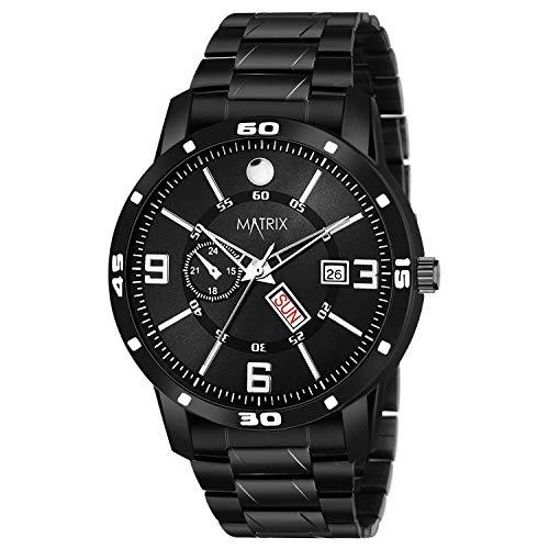 Matrix Men's Day and Date Black Dial Analog Wrist Watch (DD-81)