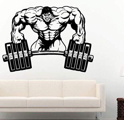 Etiqueta engomada del gimnasio Fitness Barbell Muscle Decal Body-Building Wall Sticker Decoración Gym Sticker 58 X 80 Cm