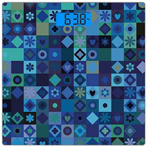Digitale Präzisionswaage für das Körpergewicht Platz Indigo Ultra dünne ausgeglichenes Glas-Badezimmerwaage-genaue Gewichts-Maße,Spielkarten inspirierte Herz-Kreis-Quadrat-Blumen-modernes Bild, blaues