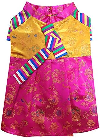 Youthdog Silk Puppy Clothes Korean Hanbok Dress Costume Dog Clothes for Girl Dog Outfit Small product image