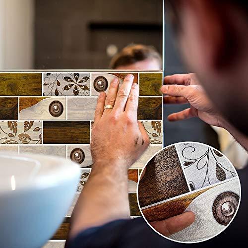 Calyvina Autoadhesivo cáscara y palillo Pared 3D Pegatina de Azulejos Autoadhesivo Ladrillos de Piedra de Fondo de Pantalla para Entrepaños de Cocina, Paquete de 10 Hojas,E04
