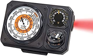 Sun Company Navigat'r 6 - Six-Function Dashboard Instrument for Car and Truck   Altimeter, Barometer, Ball Compass, Thermometer, LED Light, Signal Mirror