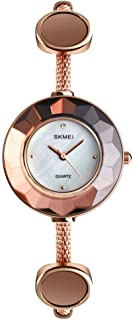SKMEI Women Watches Quartz Analog Stainless Steel Watch Fashion Casual Dress Wristwatch Watches for Women