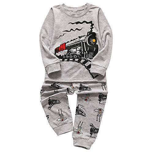 Transer Toddler Bébés Garçons Filles Cartoon Train Imprimer Hauts Pantalons Pyjamas Outfits Set (5-6 Ans, Gris)