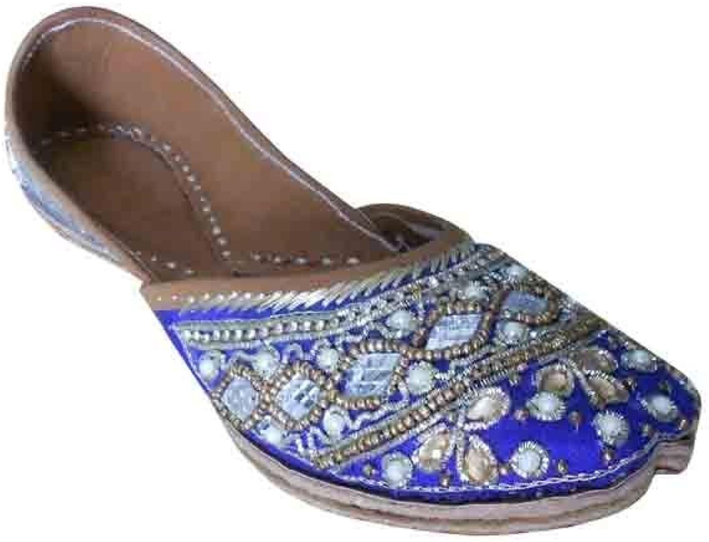 Kalra Creations Jutti Indian Wedding Women shoes Leather Flip-Flops Handmade Ballet Flat