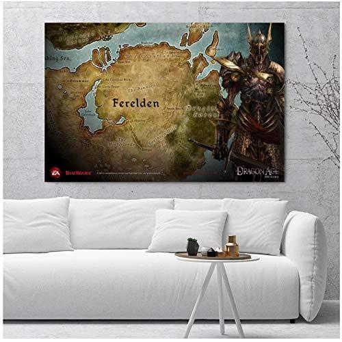 WTHKL Dragon Age Origins Mapas Carteles e Impresiones Lienzo Pintura Arte de la Pared Pinturas para la decoración de la Sala de Estar Regalo -24x32 Pulgadas Sin Marco 1 PCS