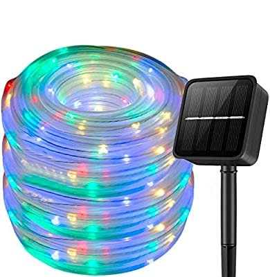 Solar String Lights Outdoor Rope Lights,39Ft 100 LED Solar Fairy Lights Outdoor Tube Lights Waterproof,Solar Garden Lights Decorative Lights for Home Party Patio Wedding Birthday (Muti-Color)