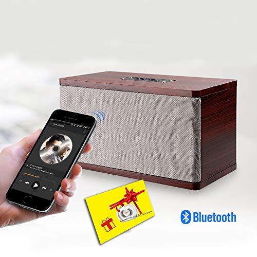 LICHUXIN Bluetooth Lautsprecher Soundbar Vintage-LED-Stereo-Surround kleine Holzkisten TF-Karte Bluetooth-Lautsprecher Power-Anzeige zeigt die Bass manuelle Einstellung Freisprecheinrichtung,Woodcolor