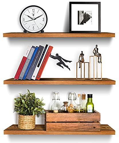 木の浮遊棚の壁に取り付けられた素朴な木製のシェルフの絵の棚の収納ラックギョナルライザーの陳列台の素朴な木製の浮遊壁シェルフセット、素朴な装飾的な棚のための2つの松の木のぶら下がっている棚のセット(趣のある黒いクルミ)、キッチン、寝室、そしてバスルーム