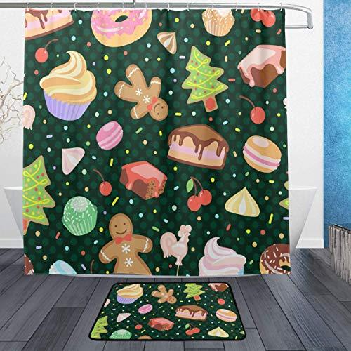 AdaCrazy Weihnachtsbaum Baiser Kirsche Cupcake Donut Hintergrundmuster Duschvorhang Set 3D-Druck Wasserdicht beschichtetes Polyestergewebe Bad mit 12 Haken 71 Zoll Indoor Bodenmatte 60x40cm