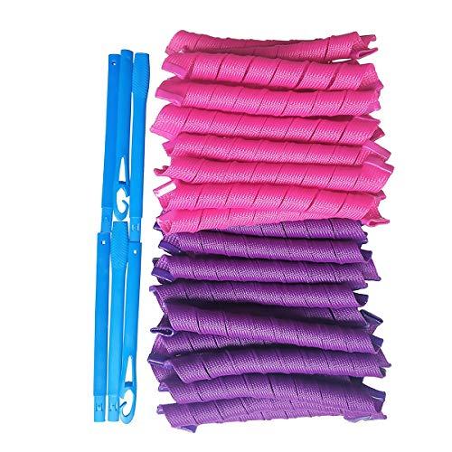 Lot de 40 rouleaux de bigoudis magiques et 1 coiffage - Cheveux extra longs jusquà 55 cm - Pour femmes et femmes à la maison sans chaleur (40)