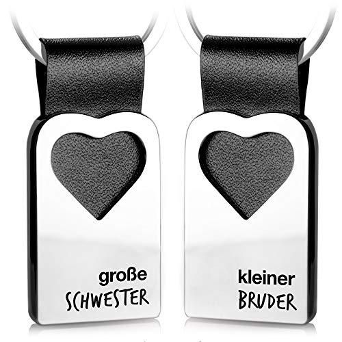 FABACH Herz Schlüsselanhänger mit Gravur aus Leder - Geschenke für Geschwister - große Schwester & Kleiner Bruder