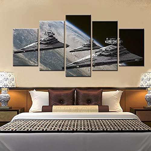 CHANGJIU-Cuadro En Lienzo, Imagen Impresión, Pintura Decor, Canvas De 5 Pieza- Póster Nave Espacial Nave Espacial Star Wars -Navidad Mural Moderno Decor Hogareña-Dos Tamaños