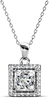 Cate & Chloe Ekatrina Pure Pendant Necklace, Women's 18k White Gold Plated Halo Necklace with Sparkling Square Cut Solitai...