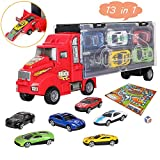 bhdlovely Transporter Truck Carry Case for Cars Play Set Carrier Including a Total of 12 Multi-color Mini Mater Racing Cars, Accessories and Innovative Racing Game Map for Boys and Girls Gifts