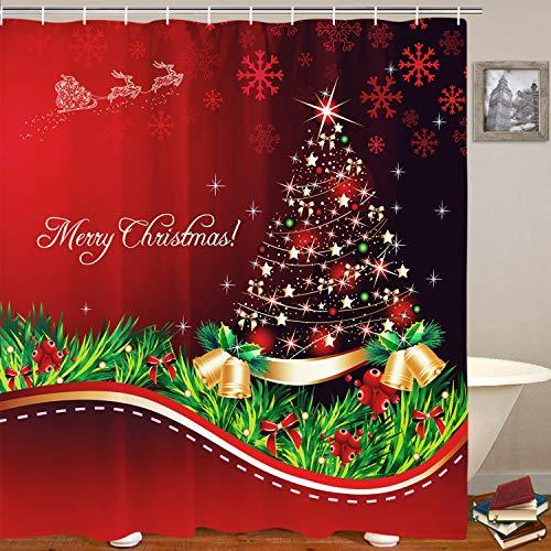 Badezimmer Duschvorhang mit 12 Haken Baum Schneeflocken Gold Glocken Badvorhänge Haltbarer Stoff Badvorhang Wasserdicht Badvorhang mit 12 Haken