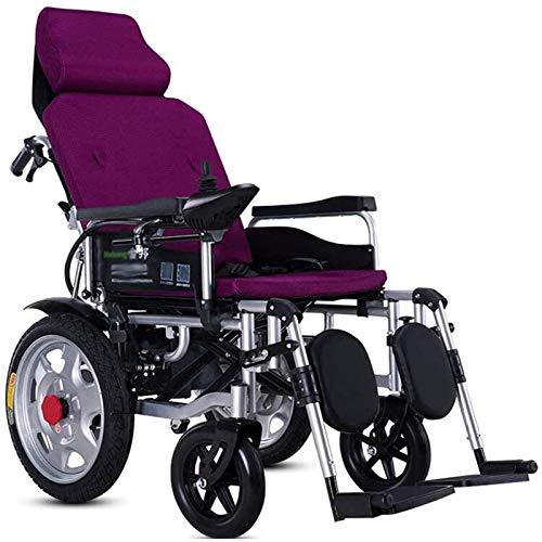 WXDP Selbstfahrender Rollstuhl Transportstuhl Elektrisch mit Kopfstütze Klappbar und Leicht Tragbar Powerchair Verstellbare Rückenlehne Heavy Duty für EL