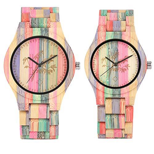 PLUIEX Holzuhr Bunte Bambus Holz Paar Uhren Quarz natürliche Bambus Armreif Armbanduhr Klappverschluss Mode Liebhaber Uhren, Paar Uhr 1