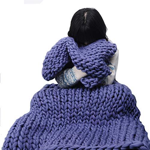 Adulte Chunky Géant Grand Grand Tricot Couvertures Doux Fil Chaud Tricoté Crochet À La Main Lit Maison Lancer Couverture Couverture Décor À La Maison (Blanc/Bleu),Blue-100 * 150cm
