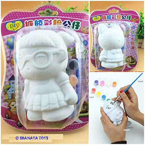 SHANAYA Paint Decorate Your Own Money Bank Toy Craft Kit Includes 1 Money Bank Figurine 6 Pots of Paint Complete Plaster Craft Kit for Kids - Assorted Models Will BE Sent