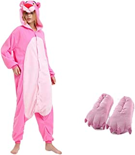 Pijamas Divertidos de Pantera Rosa Animal para Mujer, Pijamas de Dibujos Animados para Adultos, Pijamas de una Pieza, Ropa de Dormir de Franela de Lana, Pijama