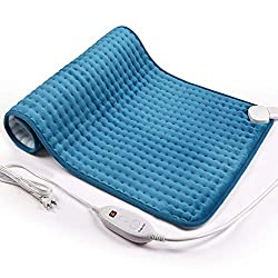 "iTeknic Heating Pad for Back Pain and Cramps Relief -Extra Large [17""x33""], Auto Shut Off - Electric Fast Heat Pad with 6 Heat Settings Moist & Dry Heat Therapy Options - Hot Heated Pad"