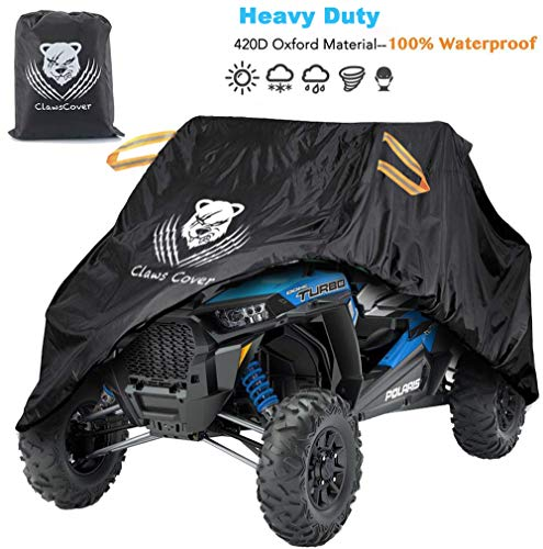 [Upgrade] UTV Covers Waterproof Accessories,115 Inches XL Heavy Duty 420D Oxford Material All Weather Outdoor Side by Side UTV Cover with Storage Bag,Sun Dust Snow Rain UV Protection Cover-ClawsCover
