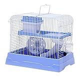 Nobleza- Jaula para hámster (30 * 23 * 25.7) Azul/Rosa/Gris Techo corredizo Abierto con asa Enrollable