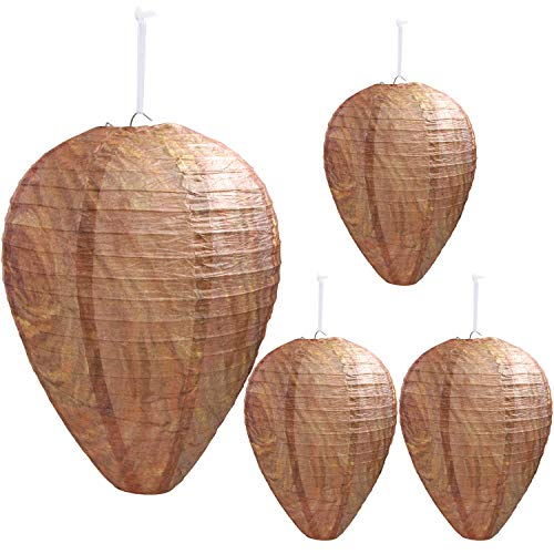 DECYOOL 4 Pack Wasp Nest Decoy Hanging Wasp Deterrent for Wasps Hornets Yellow Jackets