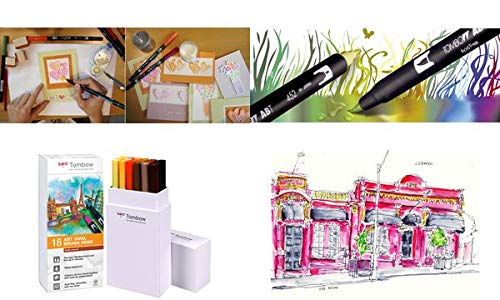 Tombow Dual Brush Pen ABT - Pennarello a doppia fibra, confezione da 18 pezzi, colore: Terracotta