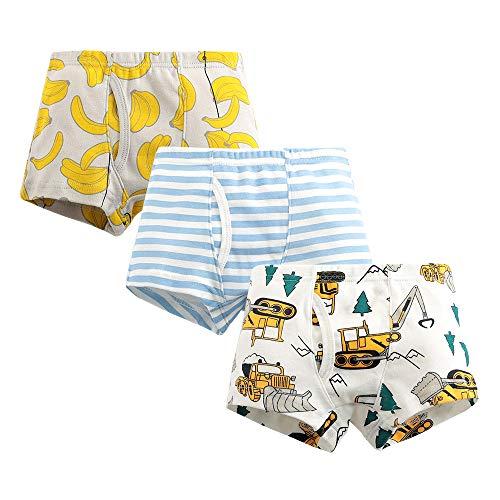 Jungen Boxershorts Unterwäsche für Kinder aus Baumwolle 3er Set Bagger & Bananen 2-8 Jahre (6-7 Jahre)