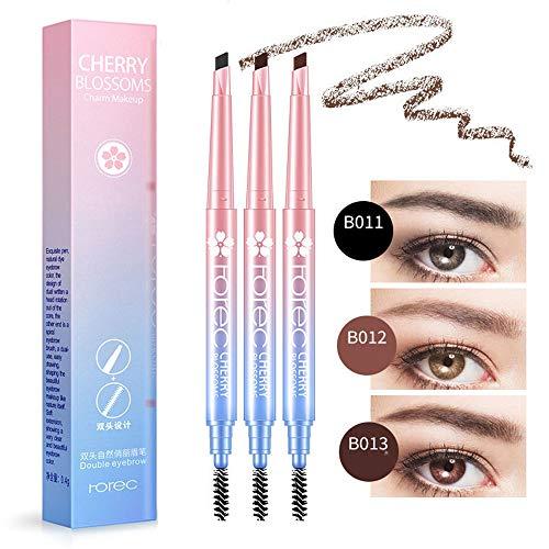 QYY 3 Sätze wasserdichte Augenbrauenstift, 3 Farben 24 Stunden langlebige drehbare Gestaltung Stirn...
