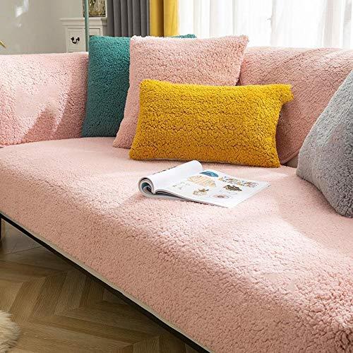 B/H Muebles Elegante Sofa Cubre,Cojín de sofá de Felpa Gruesa, Funda de sofá Simple Universal-Pink_90 * 240cm,Fundas de sofá de Esquina