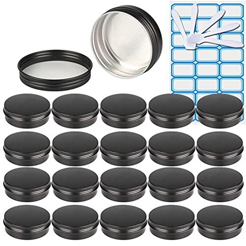 ZEOABSY50 Piezas Tarros de Aluminio con Tapa Rosca 100ml, Negro Mate Tarros de Aluminio Vacíos Redondo para Contenedor De Cosméticos CremasCaja de almacenaje con5 Espátula y 2Etiqueta