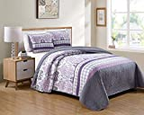 Better Home Style 3 Piece Purple Lilac Dark Grey Charcoal Floral Luxury Lush Soft Flowers Printed Design Quilt Coverlet Bedspread Oversized Bed Cover Set # Amber (King/Cal-King)