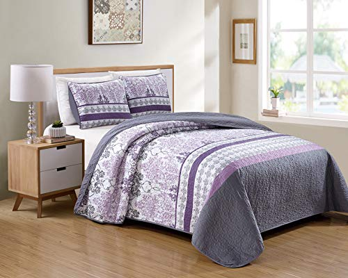 Luxury Home Collection 3 Piece King/California King Quilted Reversible Coverlet Bedspread Set Floral Printed Lavender Purple White Gray