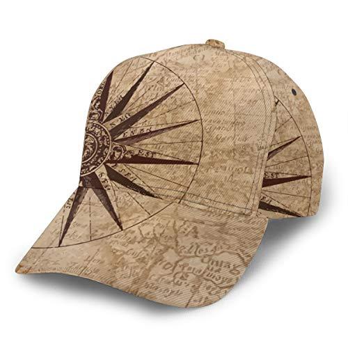Gorra de béisbol con diseño de mapa antiguo con brújula grande, ajustable, clásica, deportiva, para hombre y mujer, estilo Newst
