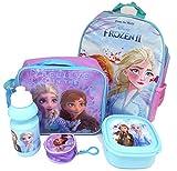 Disney Frozen Set Regalo Zaino + Portafoglio + Borsa Termica + Bere Bottiglia + Sacco Per Il Pranzo - Licenza Ufficiale - Backpack + Coin Purse + Lunch Bag + Sports Bottle + Sandwich Box - Gift Bundle