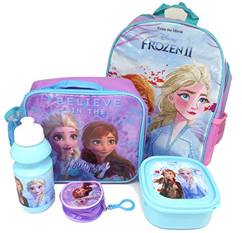 Disney Frozen Set De Regalo Mochila + Billetera + Bolsa Aislante + Botella Para Beber + Caja De Almuerzo - Licenciado Oficialmente - Backpack Purse Lunch Bag Sports Bottle Sandwich Box - Gift Bundle