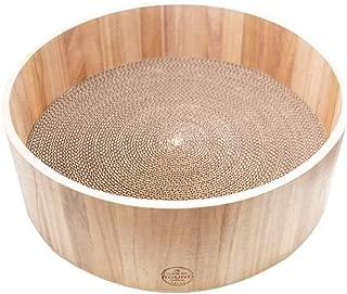 YAOMI Wood ラウンドスクラッチャー 猫 爪とぎ 丈夫な木枠 高密度段ボール 耐荷重 詰め替え可能 (本体)