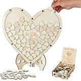 Marco de madera alternativo con 75 corazones en blanco para bodas, decoración de boda, caballete para aniversario, baby shower, hogar, decoración rústica, decoración de boda