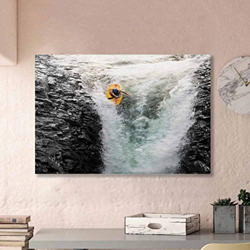 ParadiseDecor Waterfall Canvas Art Wall Decor Photo of Man Kayaking in Canoe Flowing Wild Water Nature Extreme Outdoors Print Multicolor L24 x H36 Inch