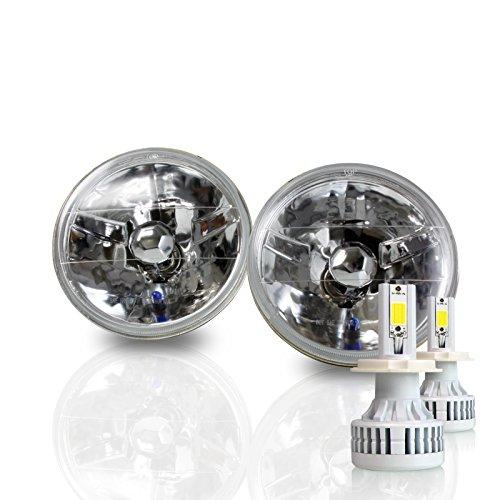 Optix 7 Inch Round Sealed Beam Headlight Conversion - fits H6024 - Clear Glass Diamond Cut Housing + H4 LED Kit 6000K Cool White 8000 LM