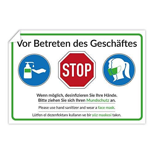 3 Stück Aufkleber Mundschutzpflicht/Vor Betreten des Geschäftes/Desinfizieren Sie Ihre Hände. Bitte ziehen Sie Sich Ihren Mundschutz an. 300x200 mm (mehrsprachig Deutsch Englisch Türkisch)